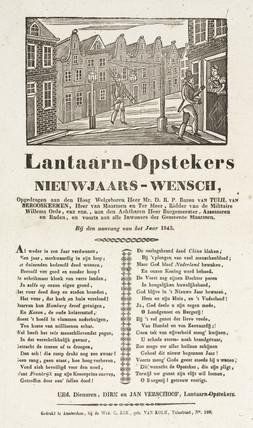 Lamplighters in Maarsen, Holland, poster, 1843.