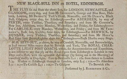 Coach timetable, 1795.