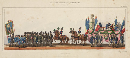 Guild procesion of lithographers in Strasbourg, France, 28th June, 1840.