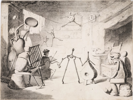 Animated implements in a kitchen, c 1830s.