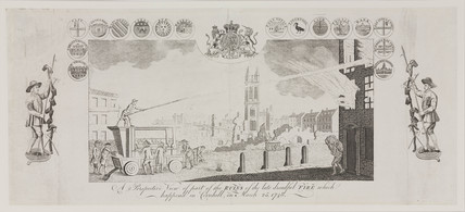 'Perspective view of...the late dreadful fire...in Cornhill...', 1748.