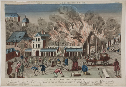 View of the fire at St Germain, Paris, 1762.