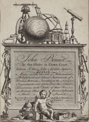 Trade card of John Bennet (Bennett), Crown Court, London, 18th century.