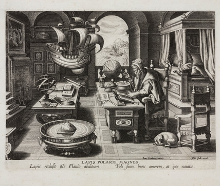 Philosopher in his chamber studying a lodestone, Antwerp, c 1580.