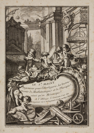 Trade card of Sr Magny, engineer, Paris, c 1750.