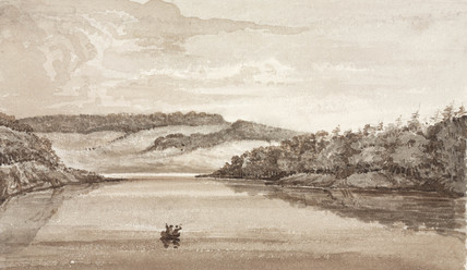 Two men rowing a boat across a lake, South Atlantic, 1828-1831.