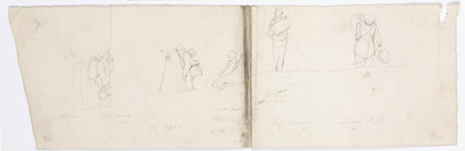 Sketches of members of 'Chanticleer' making measurements, 1828-1831.