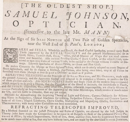 Trade card of Samuel Johnson, optician, 18th century.