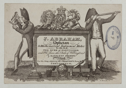 Trade card of J Abraham, optician and mathematical instrument maker, 1837.