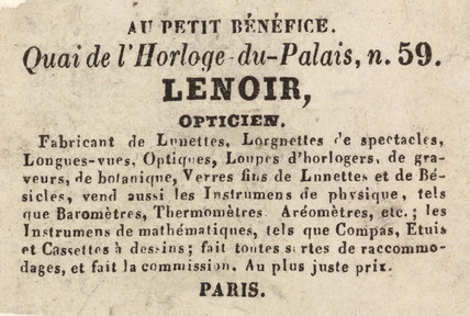 Trade card of Lenoir, optician, 19th century.