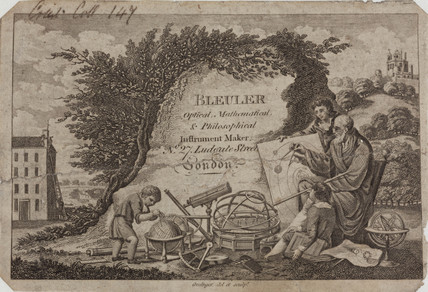 Trade card of Bleuler, scientific instrument makers, 18th century.