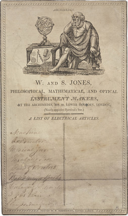 Trade card of W & S Jones, instrument makers, c 18th century.