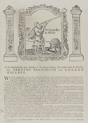 Trade card of Timothy Brandreth and George Willdey, c 18th century.