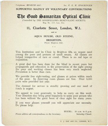 Fundraising leaflet for the Good Samaritan Optical Clinic, c 1930.