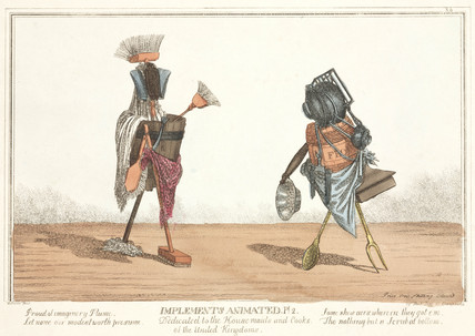 'Implements Animated', figures composed of cutley and crockery, 1811.