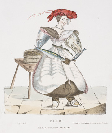 'Fish', figure of a woman constructed from various types of fish, 1830.