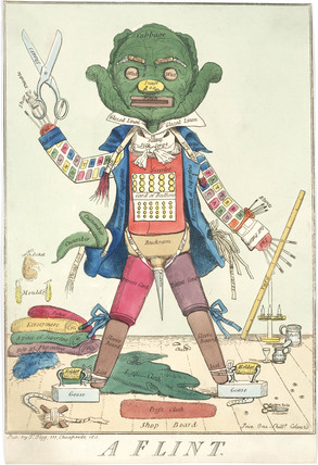 'A Flint': Personification of a tailor at work made using tailoring artefacts, 1811.