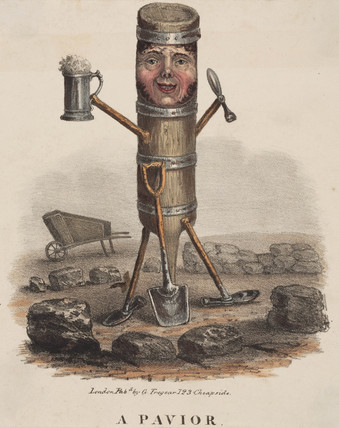 'A Pavior', figure made from the tools of his trade, c 1810-1860.