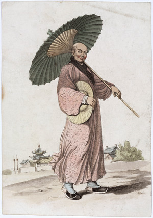 A Japanese man in a kimono with a parasol and hat, 19th-20th century.