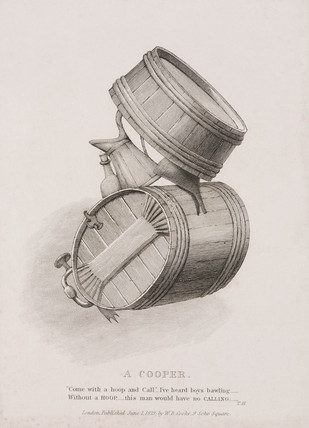 'A Cooper', a figure made from barrels and jugs, 1829.