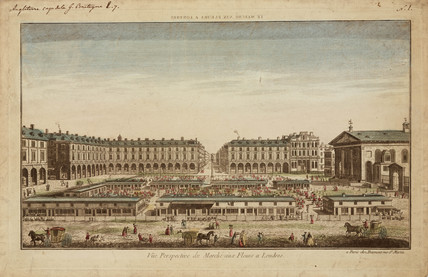 Perspective view of Covent Garden flower market, London, 19th century.