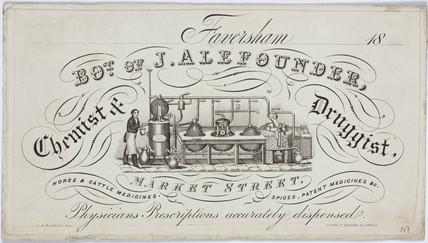 Trade card of J Alefounder, chemists and druggist, 19th century.