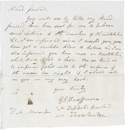 Letter concerning arrangements for public lectures, c 1850s.