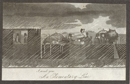 Passengers in an open-top train during a thunder storm, c 1835.