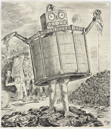 Cartoon of  a 'gas monster', 1880-1900.