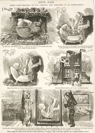 The dangers of an unpurified gas supply, cartoon, 19th century.