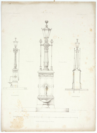Diagrams of a gas lamp, 1863.