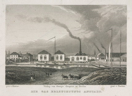 Gas works for lighting, 19th century.