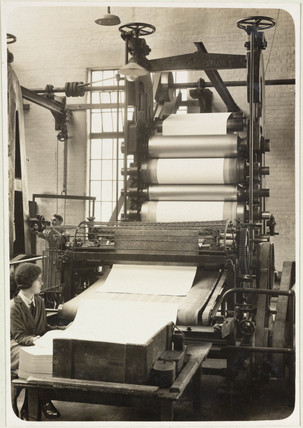 Rolls of paper in the beater room, production of paper, 1936-42.