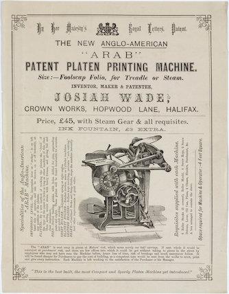 'The new Anglo-American 'Arab' patent platen printing machine', 19th century.