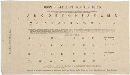 A simplified system of reading for the blind, c 1849.