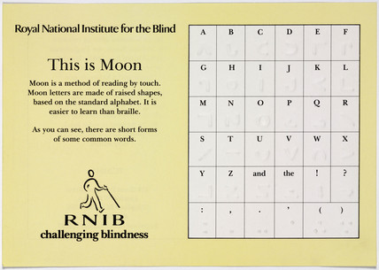 'This is moon', RNIB information sheet, c 1980s.