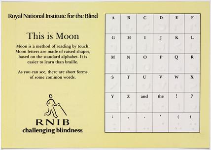 'This is moon', RNIB information sheet, c 1980s.