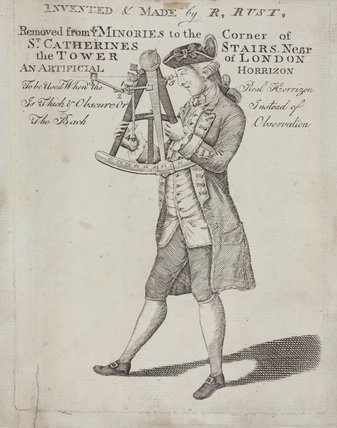 Naval officer using an octant, late 18th century.