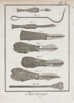 Surgical knives and scalpels, 1780.