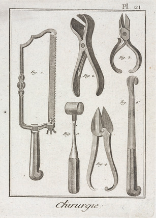 Surgical saw and other instruments, 1780.