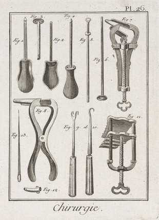 Surgical clamps and other instruments, 1780.