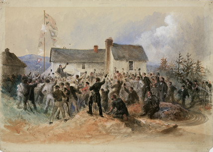 Canning being cheered by crowds, Newfoundland, Canada, 1866.