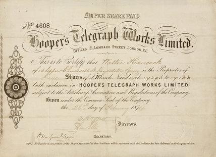 Share certificate for Hooper's Telegraph Works Ltd, 1874.
