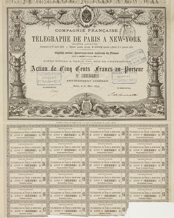 Share certificate for the French Telegraph Company, 27 March 1879.