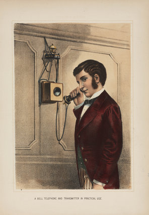 'A Bell telephone and transmitter in practical use', c 1890.