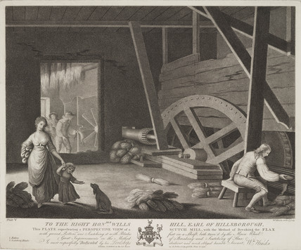 'Scutch Mill, breaking the flax', Republic of Ireland, 1791.