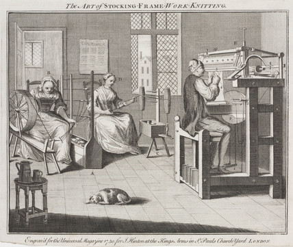 'The Art of Stocking Frame Work Knitting', 1750.