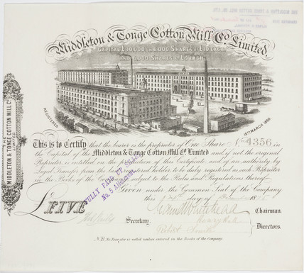 Share Certificate for Middleton and Tonge Cotton Mill Co Ltd, 1875.