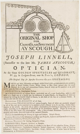 Trade card of Joseph Linnell, opticians, 19th century.
