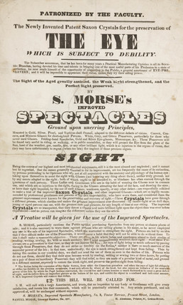 Trade card of Samuel Morse, optician, 19th century.